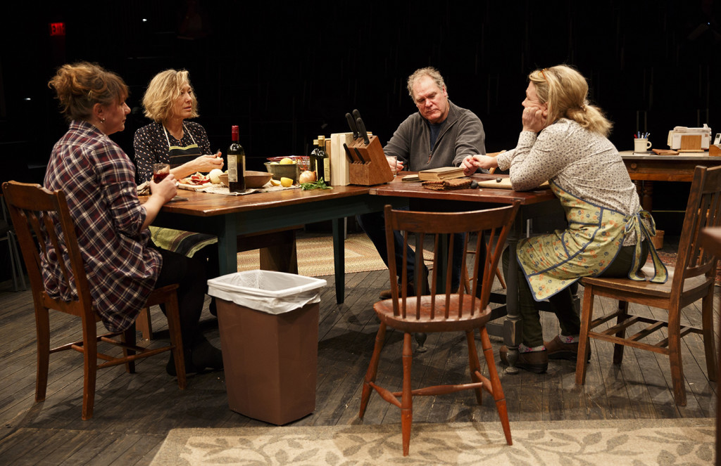 Amy Warren, Meg Gibson, Jay O. Sanders, and Lynn Hawley in Hungry, Play One of The Gabriels: Election Year in the Life of One Family, written and directed by Richard Nelson, running at The Public Theater. Credit: Joan Marcus.